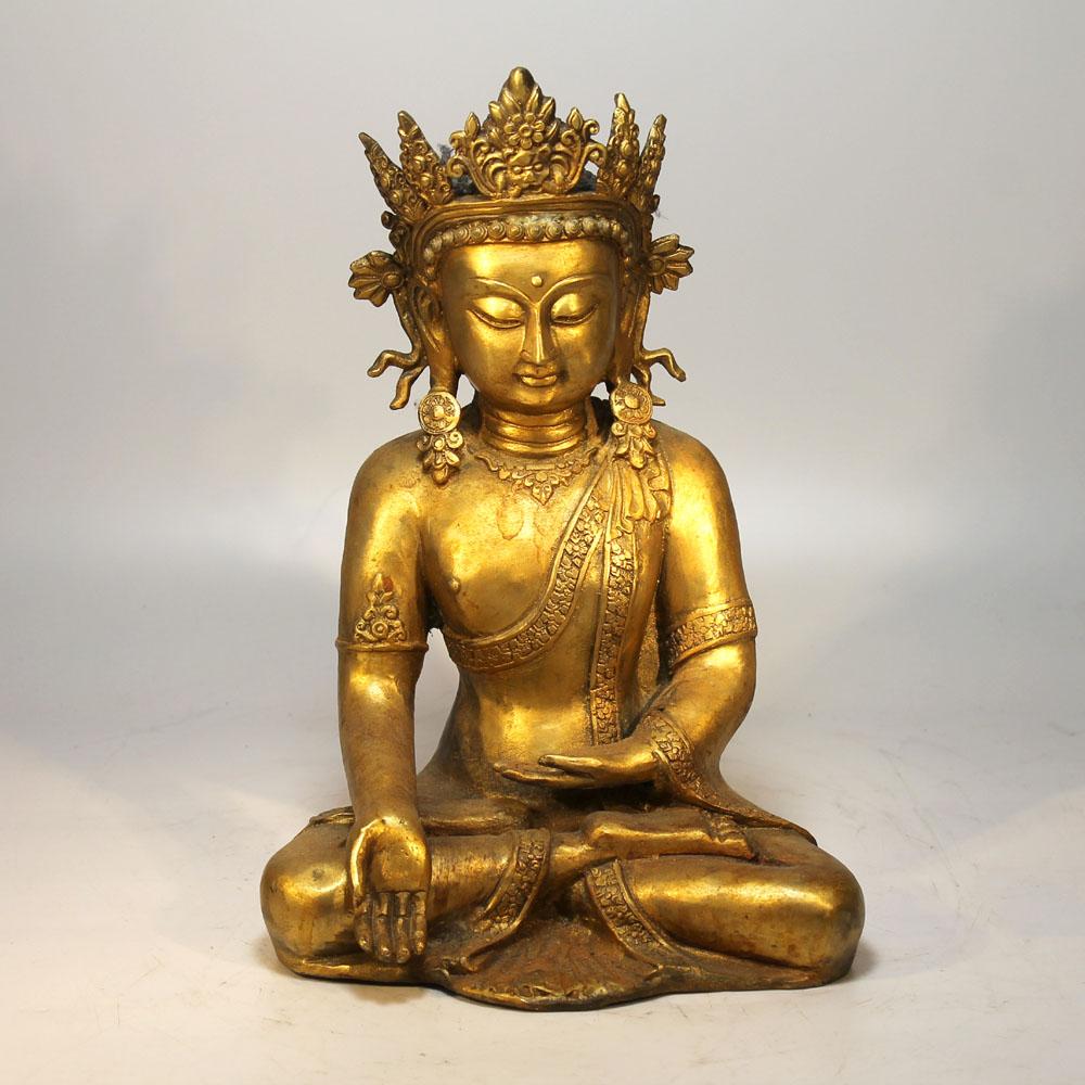 Filigraner tibet gekr nter buddha bronze 20 jh skulptur for Buddha figur