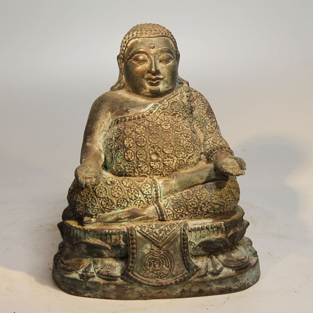 Thai happy buddha bronze 20 jh filigran skulptur asien for Buddha figur