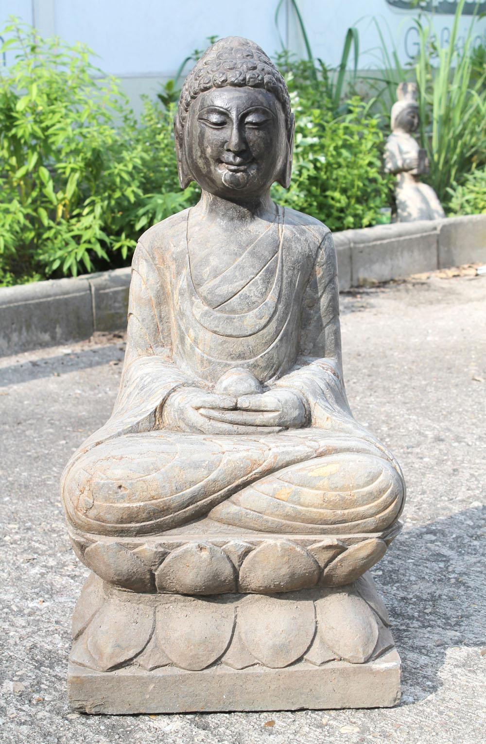 Gro er meditation naturstein buddha china 20jh skulptur garten stein figur asien ebay - Buddha figur garten ...