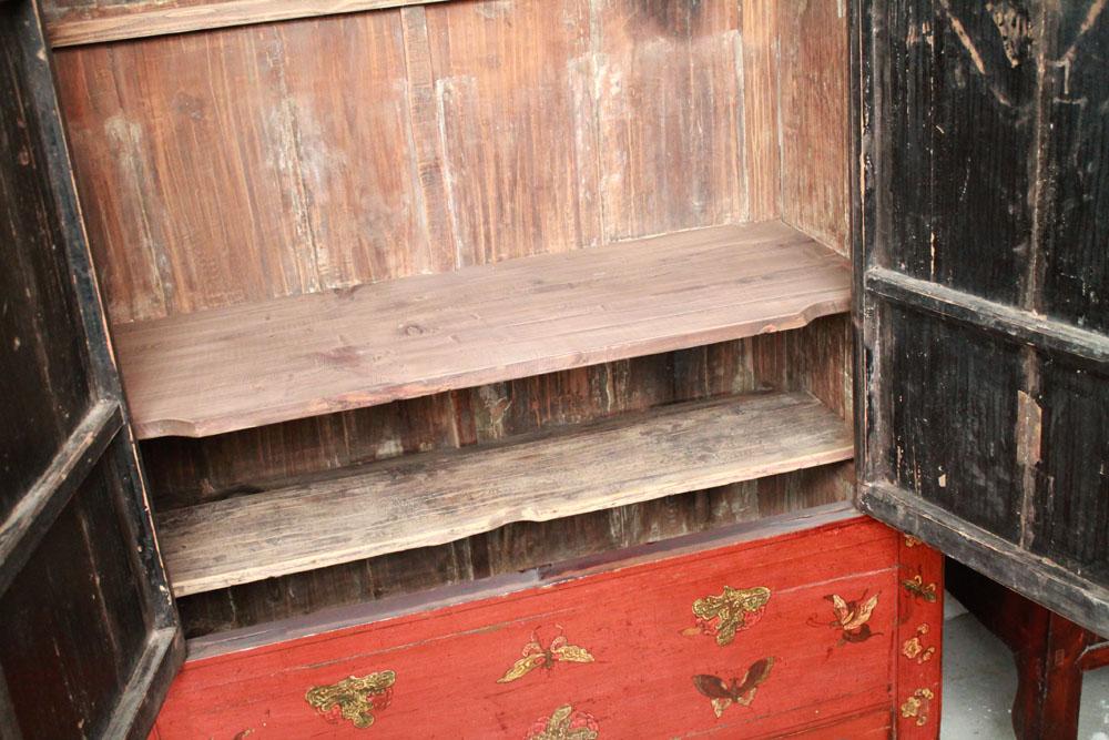 china antik kleiderschrank rar 19 jh schmetterling schrank massiv holz alt ebay. Black Bedroom Furniture Sets. Home Design Ideas